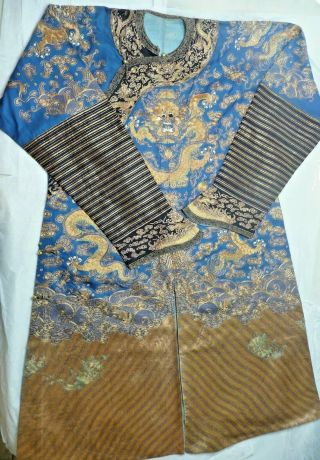 Antique Imperial Chinese Qing Dynasty Embroidered Summer Silk Robe Golden Thread