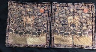 Antique Chinese Qing Dynasty Silk Embroidered Gold Military Rank Badges