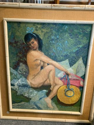 Female Nude Antique Oil Painting Framed And Signed