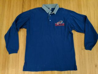 "Vintage 1990s Buffalo Bills "" The Game "" Brand Rugby Long Sleeve Polo Shirt Sz Xl"