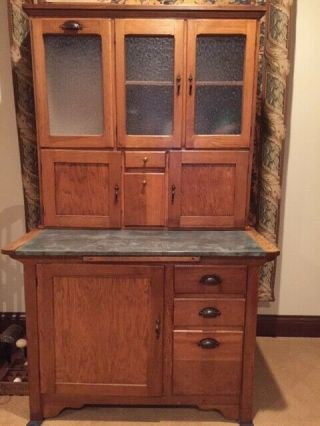 Antique Oak Hoosier Sellers Kitchen Cabinet
