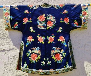 Fine Antique Chinese Silk Robe Forbidden Stitch Embroidery C.  1900