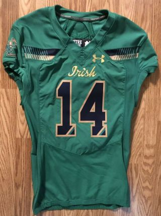 Notre Dame 2015 Shamrock Series Boston Team Issued Under Armour Jersey 14