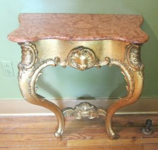 Fine Antique French Hand - Carved Gilt Wood Console Table W/ Marble Top C.  1870