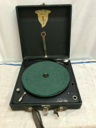 Vintage 1922 Polly Portable 78rpm Phonograph - - Record Player In Case - - Wind Up