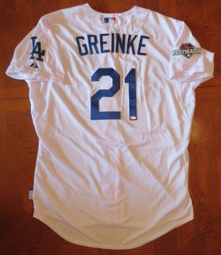 Zack Greinke 10/16/2015 Team Issued Postseason Dodgers White 21 Home Jersey Hof