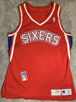 Read Philadelphia 76ers Blank Procut Game Issued Nba Jersey Size 46 M L Iverson