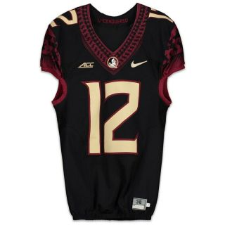 Florida State Seminoles Fsu Game Issued Jersey 12 Rare Black Jersey Size 50