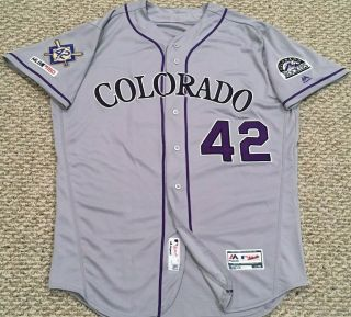 Jackie Robinson Size 48 42 2019 Colorado Rockies Game Jersey Road Gray Mlb Holo