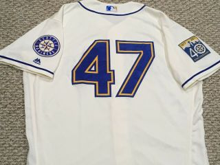 Pazos 47 Size 50 2017 Seattle Mariners Home Cream Game Jersey 40th Mlb