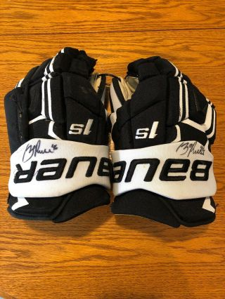 Zach Aston - Reese Signed Game Gloves Both Signed Auto Penguins Equipment