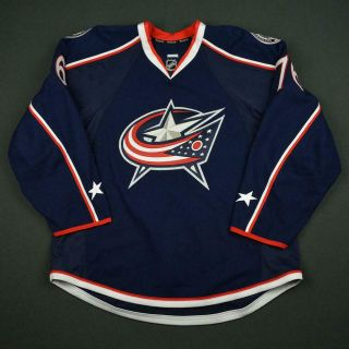 2016 - 17 Francis Beauvillier Columbus Blue Jackets Game Issued Hockey Jersey