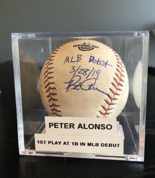 Peter Pete Alonso Game Auto Inscr 1st Career Play At 1b In Mlb Debut Ball