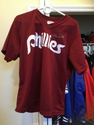 Game Used/worn/autographed Steve Carlton Phillies Jersey.  Wilson Size 48