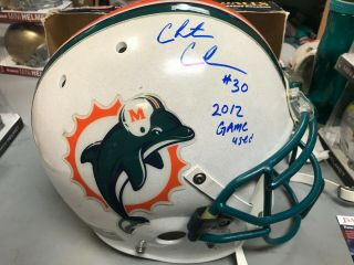 Chris Clemons Miami Dolphins Signed 2012 Game Authentic Helmet Jsa Ff15978