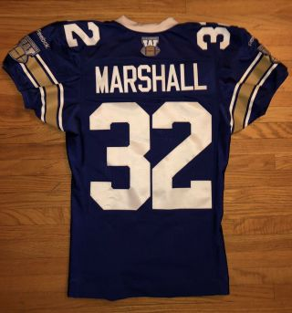 Cfl Winnipeg Blue Bombers 2015 Game Worn Cameron Marshall Heritage Jersey