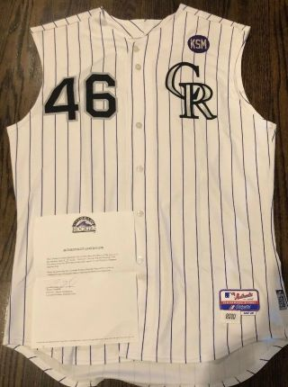 2010 Jason Hammel Game Colorado Rockies Jersey / Patch / Team Loa,  Mlb Aut
