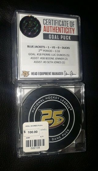 Columbus Blue Jackets Pierre - Luc Dubois Game Goal Scored Puck Anaheim Ducks