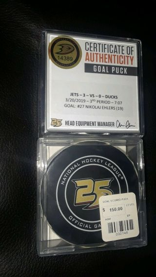 Winnipeg Jets Nikolai Ehlers Nhl Game Goal Scored Puck Anaheim Ducks 25th