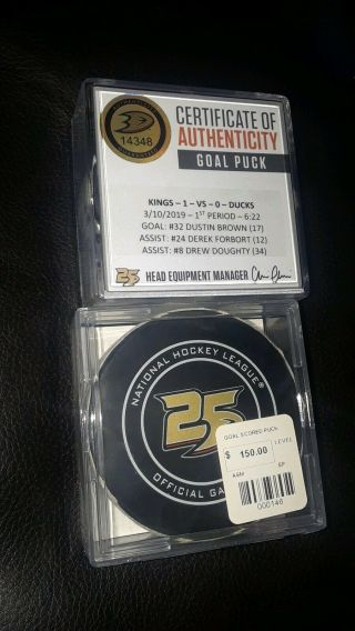 Dustin Brown La Kings Nhl Game Goal Scored Puck Doughty Anaheim Ducks 25th