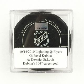 2010 - 11 Pavel Kubina Tampa Bay Lightning Game - Goal - Scored Puck - St.  Louis A