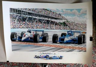 Indy 500 Randy Owens Closest Ever Finish Al Unser Jr.  Lithograph