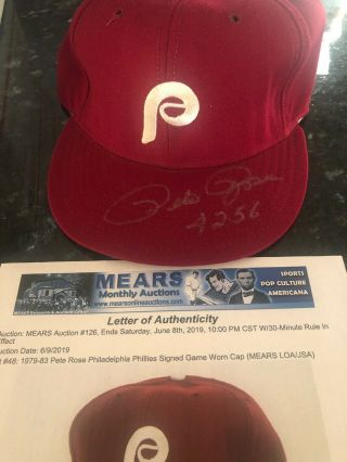 1979 - 83 Pete Rose Phillies Game Worn Cap Mears Signed Twice