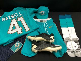 41 Miami Dolphins Byron Maxwell Game Jersey Full Set W/pants/socks/cleats