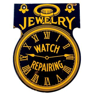 Vintage Double Sided Porcelain Watch Repair Jewery Sign Antique Rare Heavy Steel