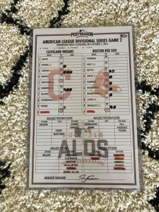 Game Lineup Card,  Alds Game 2,  Cleveland Indians,  2016