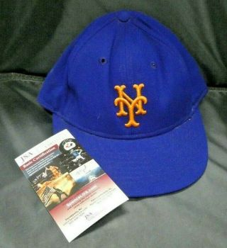 Rare 1969 Mets Era Bud Harrelson Game Worn Mets Signed Cap Hat With Jsa