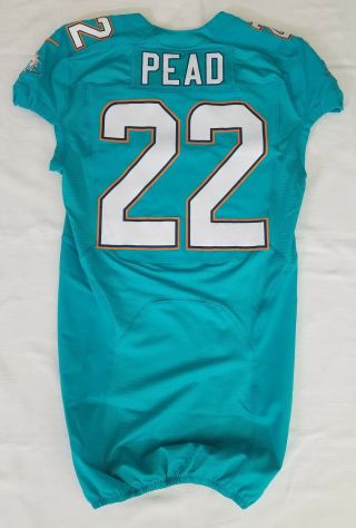 22 Isaiah Pead Of Miami Dolphins Nfl Locker Room Game Issued Jersey