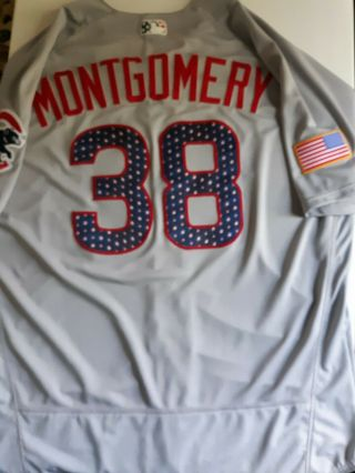 2017 Montgomery Cubs Gameworn July 4th Jersey Authentic Majestic Hologram Sz 50