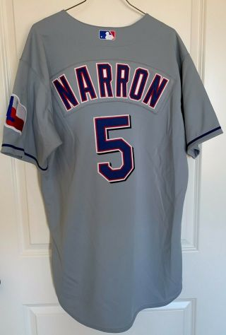 Texas Rangers Jerry Narron 5 Majestic Team - Issued Gray Road Jersey (size 46)