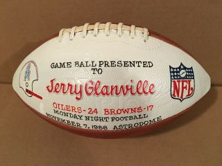 1988 Houston Oilers Game Mnf Game Ball Presented To Jerry Glanville