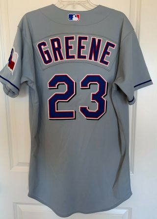Texas Rangers Todd Greene 23 Majestic Team - Issued Gray Road Jersey (size 44)