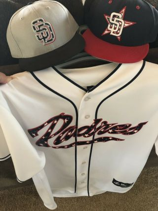 2013 2014 2015 San Diego Padres July 4th Independence Day 2 Hats 1 Jersey