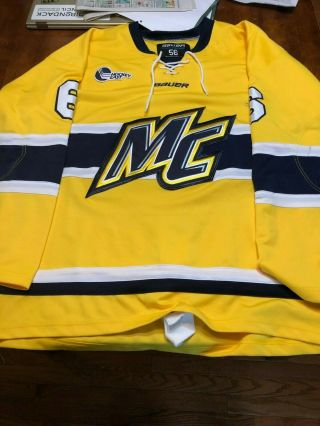 Merrimack Home Hockey Jersey Tie - Up 6 Carle Bauer 56 He Patch