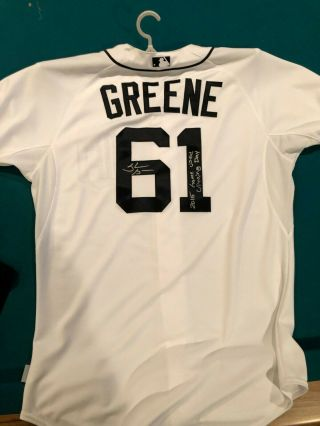 Detroit Tigers Shane Greene Game Issued/used Autograph Jersey Opening Day