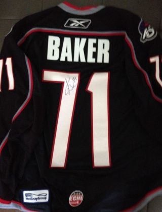 Signed Kevin Baker 71 2009 Echl All - Star Game Worn Hat - Trick Captain Jersey