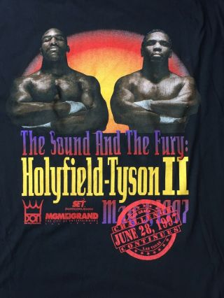 Holyfield Tyson 2 Shirt The 'bite Fight' Xl The Sound & The Fury Mgm 1997