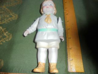 "Antique Vintage 7 "" Boy Doll Molded Body Jointed Arms Fully Dressed"