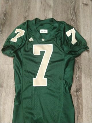2008 Adidas Team Issued Authentic Game Notre Dame Football Green Jersey 7 Irish