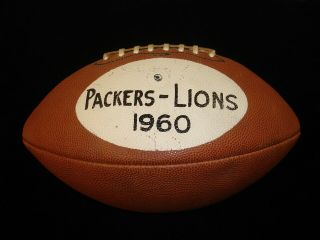 Vintage 1960 Green Bay Packers Vs Detroit Lions Painted Nfl Game Ball W/ Loa