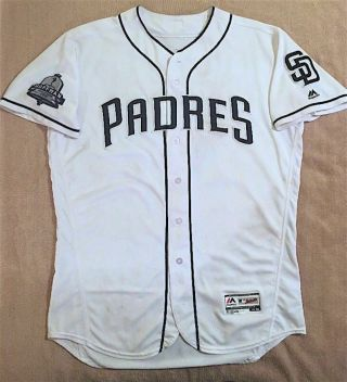 2018 Austin Hedges Game Padres Home Jersey 18 Hoffman Hall Of Fame Patch