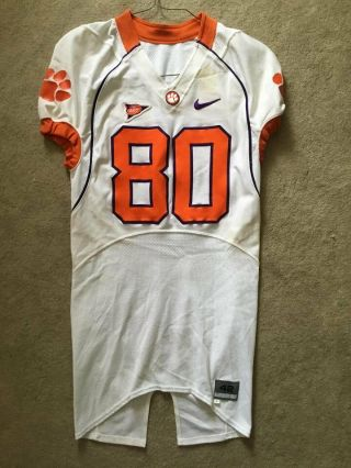 2008 Game Worn Clemson Tigers Football Nike Jersey By Wr Aaron Kelly 42