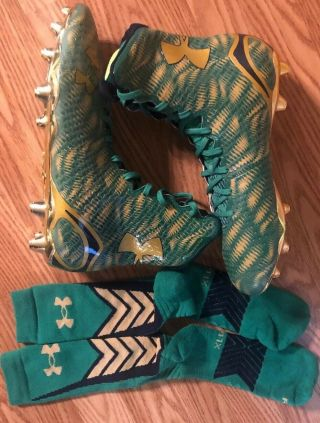 Notre Dame 2015 Shamrock Series Boston Team Issued Under Armour Cleats/socks 12