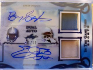 2019 Leaf In The Game Barry Sanders/emmitt Smith Dual Auto Patch Card 1/12