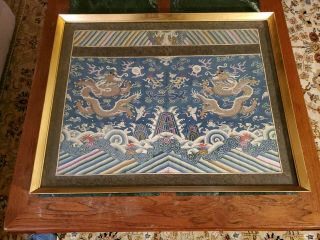 Antique Chinese 19th Century Kesi Imperial Nine Dragon Robe Framed Silk Qing