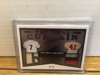 2019 Leaf In The Game Mickey Mantle Eddie Mathews Dual Patch Jersey 4/15